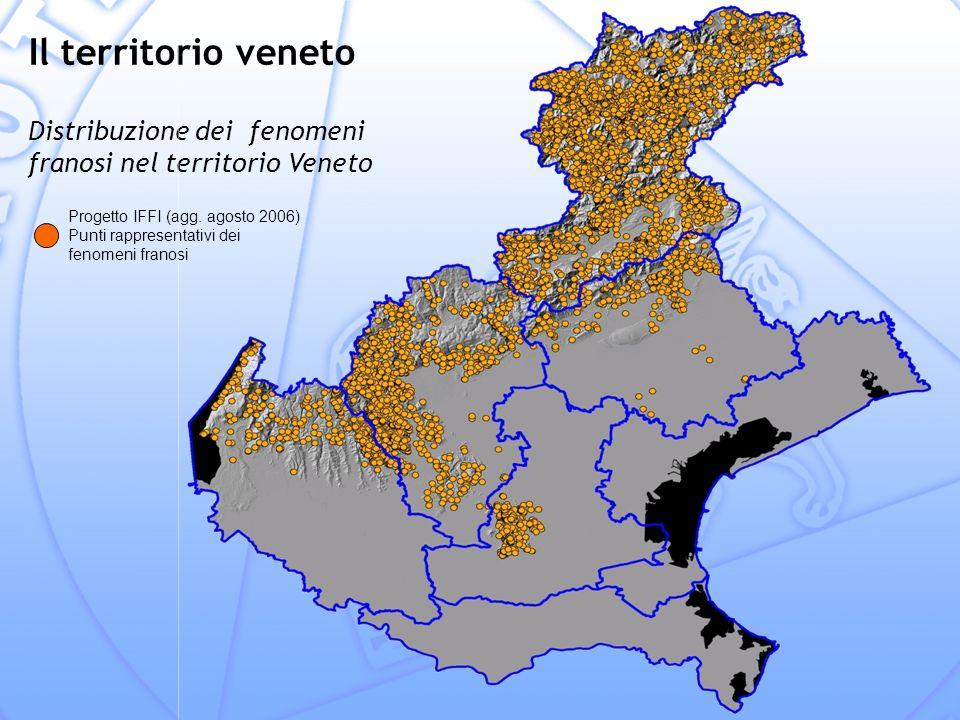 Il territorio veneto Distribuzione dei fenomeni franosi nel territorio Veneto.