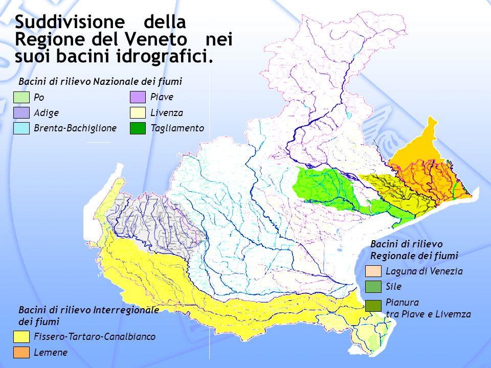 Suddivisione della Regione del Veneto nei suoi bacini idrografici.
