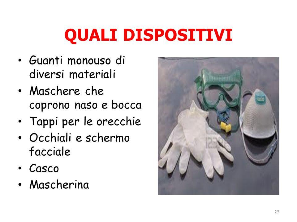 QUALI DISPOSITIVI Guanti monouso di diversi materiali