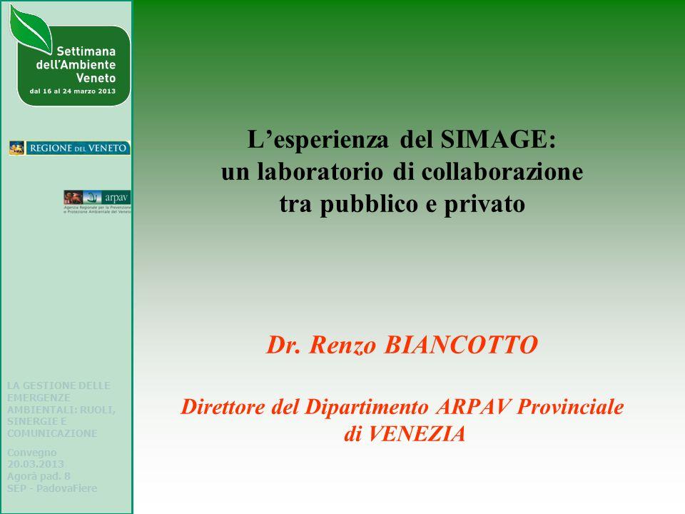 L'esperienza del SIMAGE: un laboratorio di collaborazione tra pubblico e privato Dr. Renzo BIANCOTTO Direttore del Dipartimento ARPAV Provinciale di VENEZIA