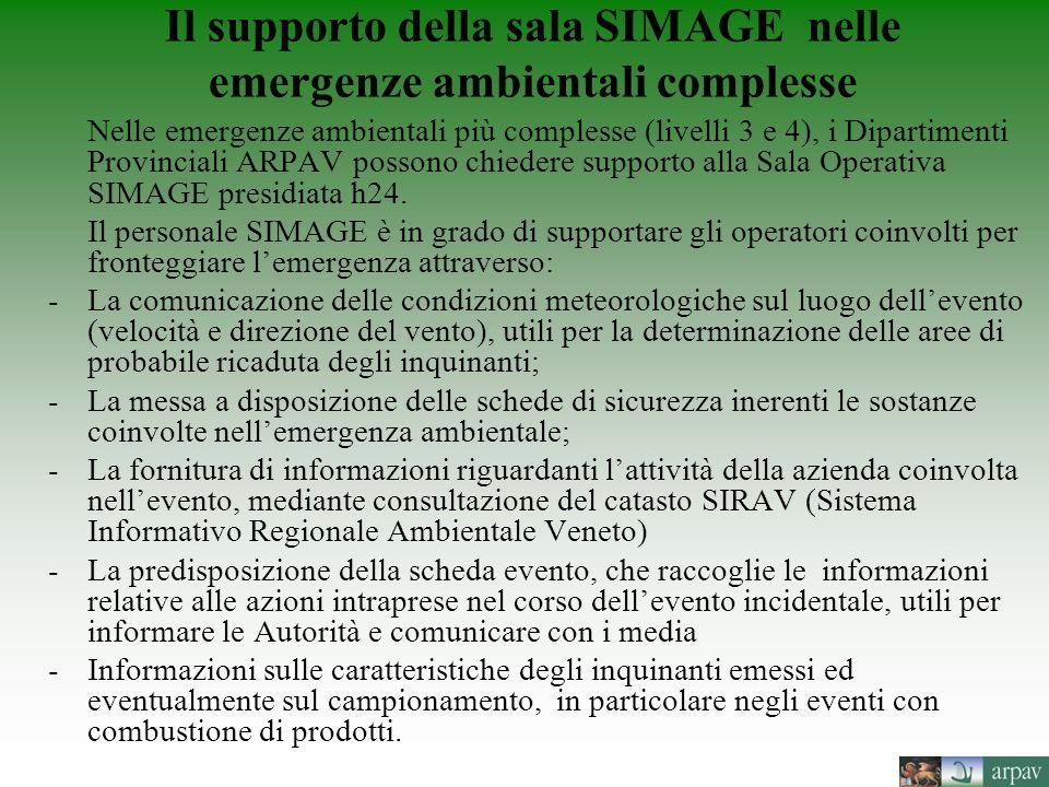 Il supporto della sala SIMAGE nelle emergenze ambientali complesse