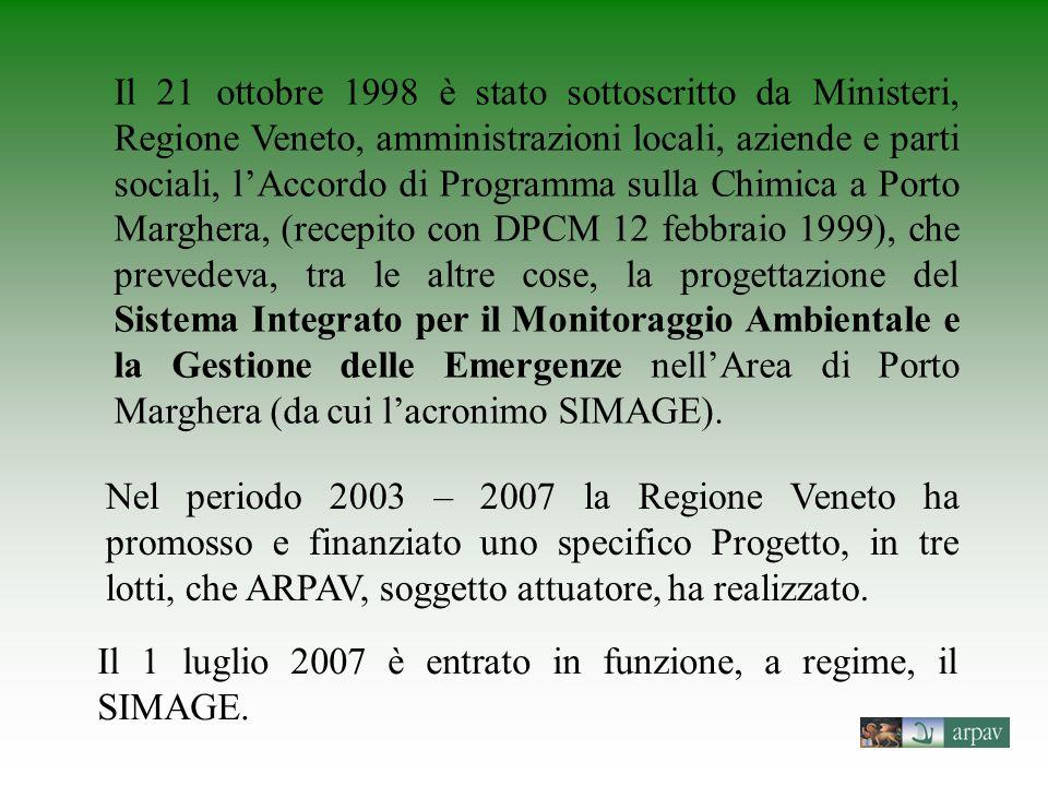 Il 21 ottobre 1998 è stato sottoscritto da Ministeri, Regione Veneto, amministrazioni locali, aziende e parti sociali, l'Accordo di Programma sulla Chimica a Porto Marghera, (recepito con DPCM 12 febbraio 1999), che prevedeva, tra le altre cose, la progettazione del Sistema Integrato per il Monitoraggio Ambientale e la Gestione delle Emergenze nell'Area di Porto Marghera (da cui l'acronimo SIMAGE).