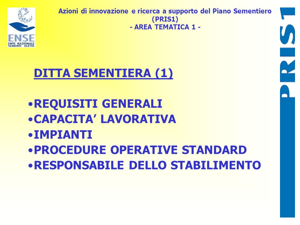 PROCEDURE OPERATIVE STANDARD RESPONSABILE DELLO STABILIMENTO