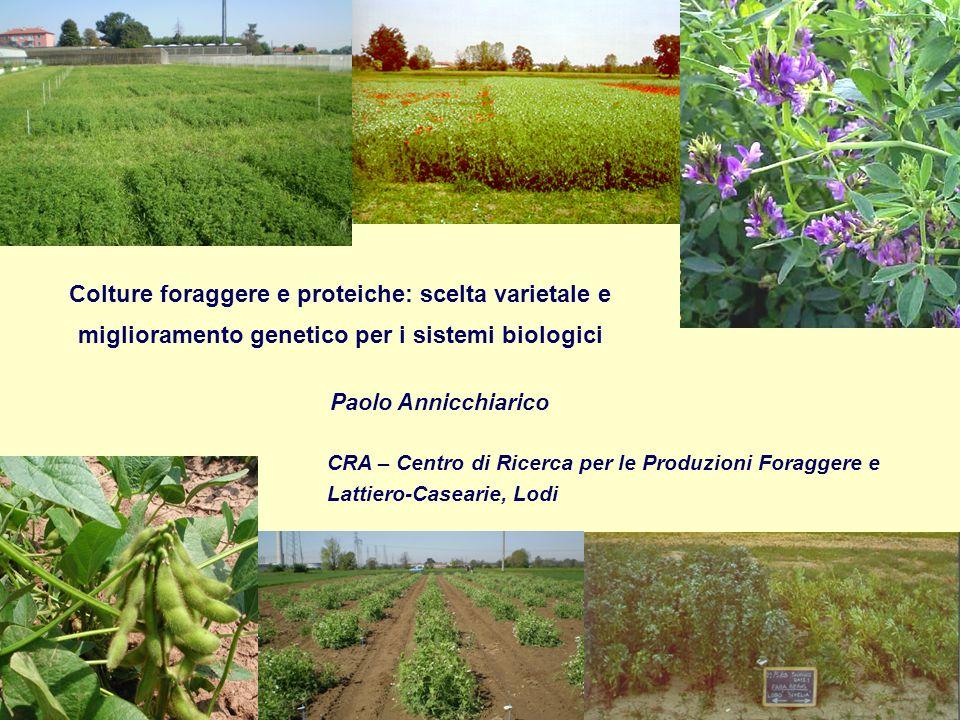 Colture foraggere e proteiche: scelta varietale e miglioramento genetico per i sistemi biologici
