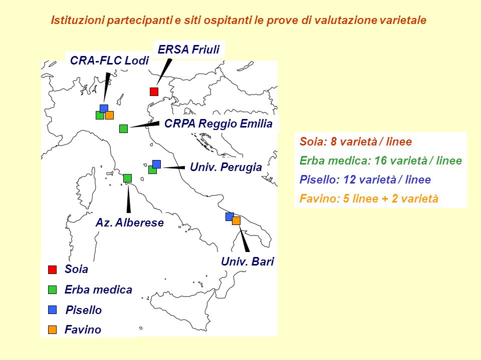 Istituzioni partecipanti e siti ospitanti le prove di valutazione varietale