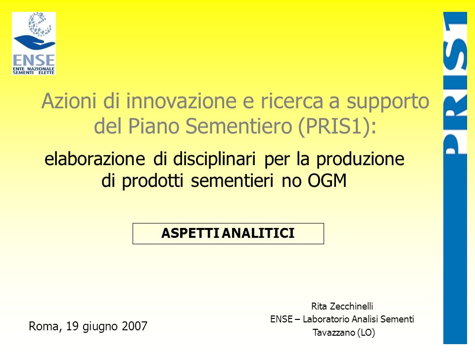 ENSE – Laboratorio Analisi Sementi