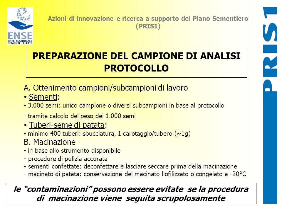PREPARAZIONE DEL CAMPIONE DI ANALISI PROTOCOLLO
