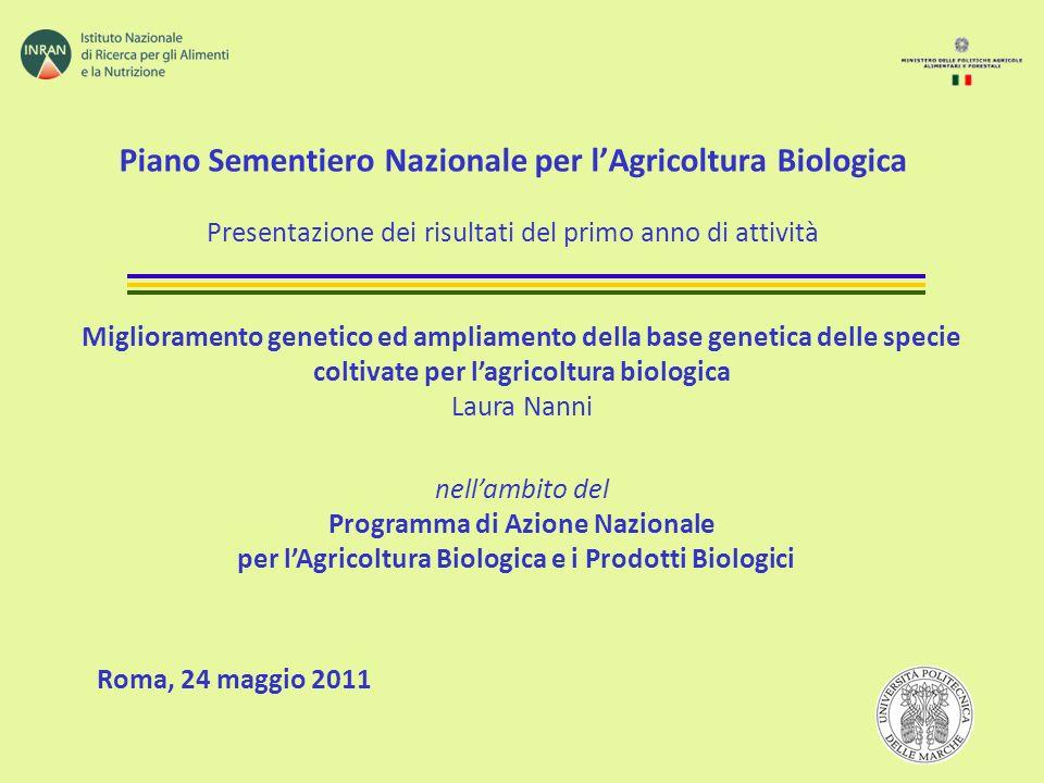 Piano Sementiero Nazionale per l'Agricoltura Biologica Presentazione dei risultati del primo anno di attività