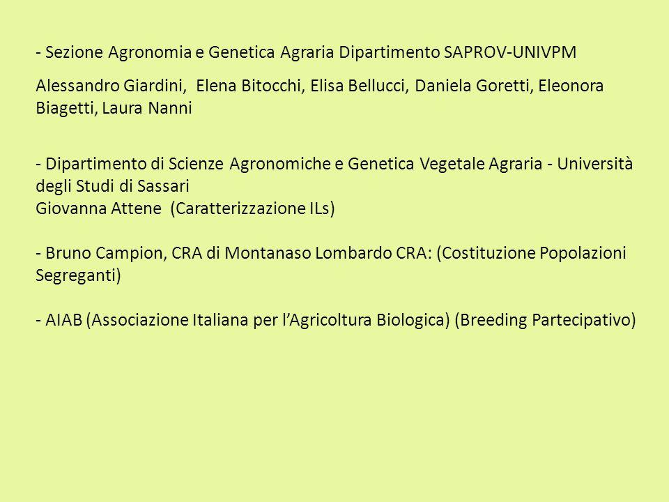 - Sezione Agronomia e Genetica Agraria Dipartimento SAPROV-UNIVPM