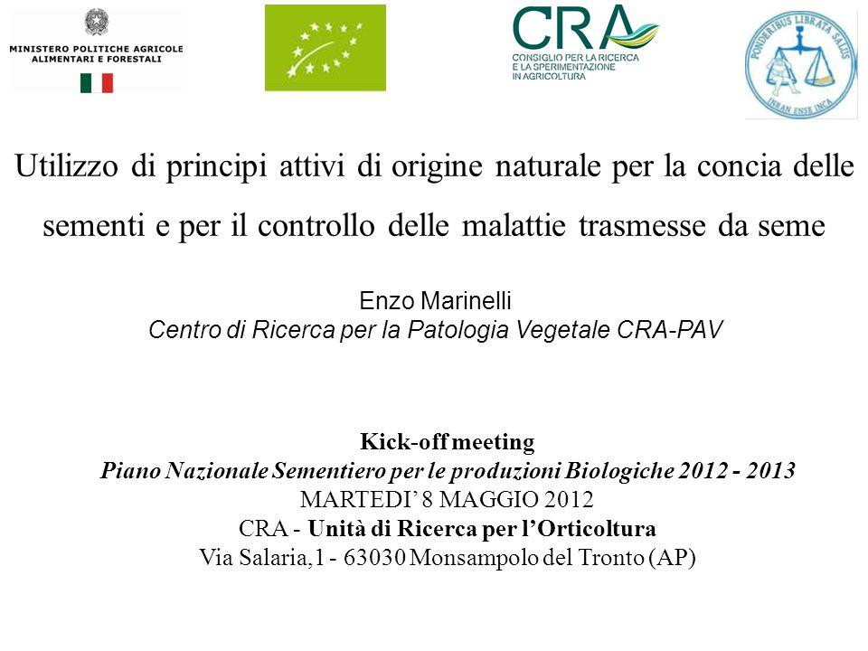 Utilizzo di principi attivi di origine naturale per la concia delle sementi e per il controllo delle malattie trasmesse da seme