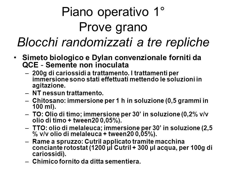 Piano operativo 1° Prove grano Blocchi randomizzati a tre repliche