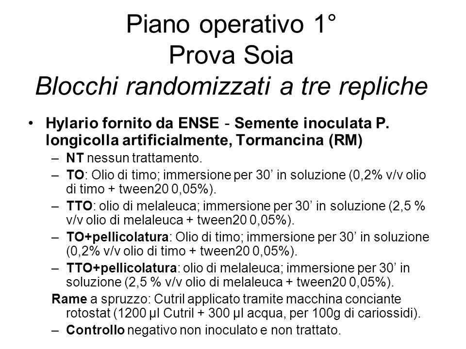 Piano operativo 1° Prova Soia Blocchi randomizzati a tre repliche