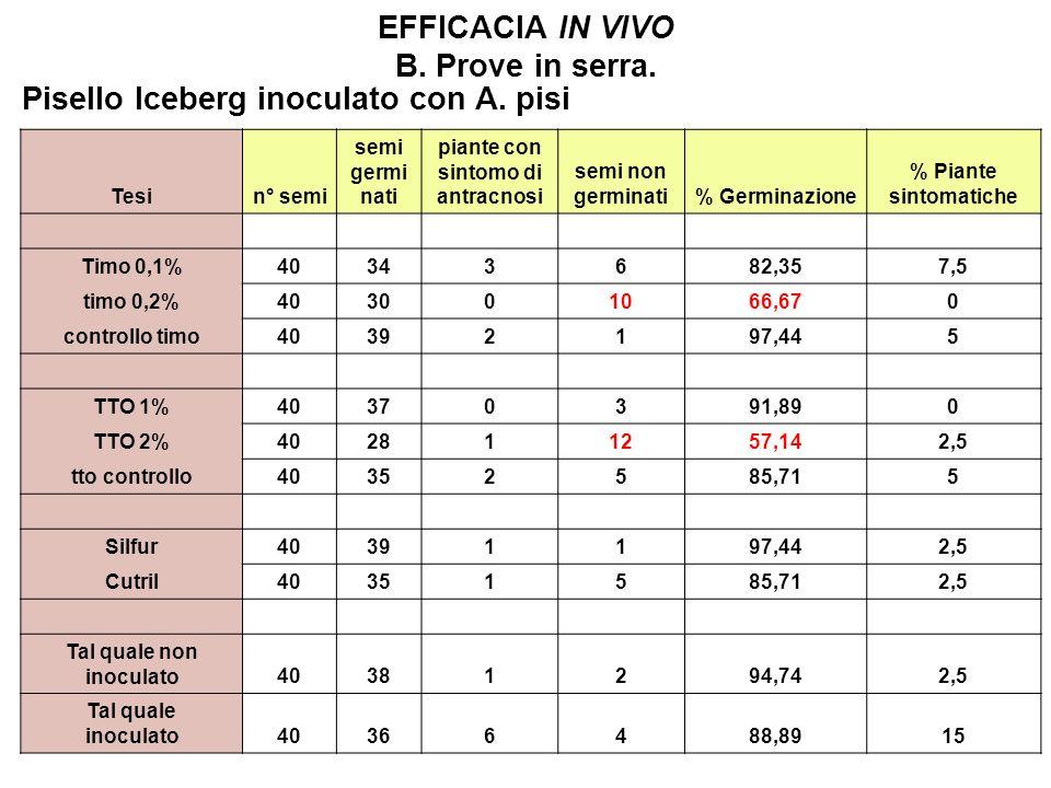 EFFICACIA IN VIVO B. Prove in serra.