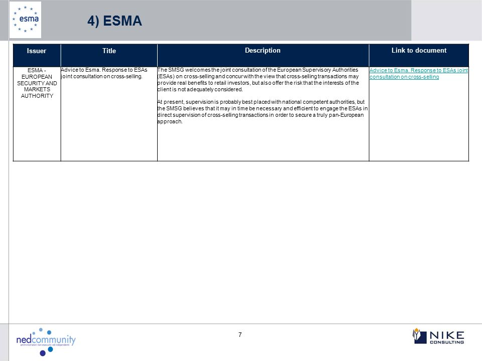 ESMA - EUROPEAN SECURITY AND MARKETS AUTHORITY