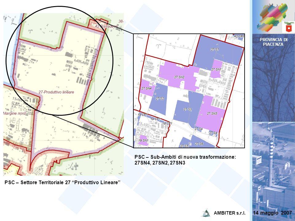 PROVINCIA DI PIACENZA PSC – Sub-Ambiti di nuova trasformazione: 27SN4, 27SN2, 27SN3. PSC – Settore Territoriale 27 Produttivo Lineare