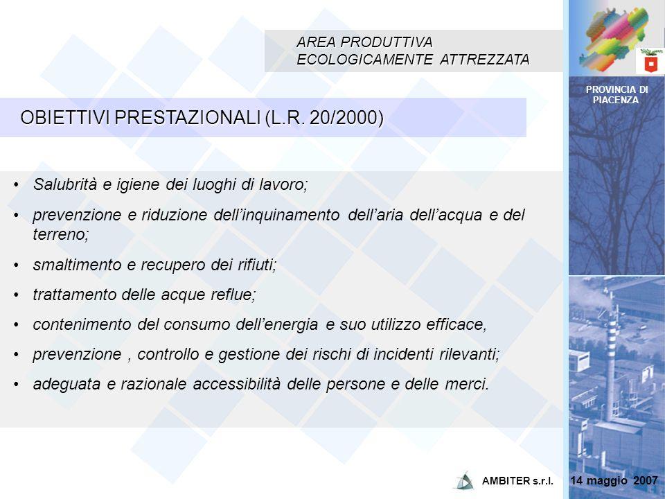 OBIETTIVI PRESTAZIONALI (L.R. 20/2000)