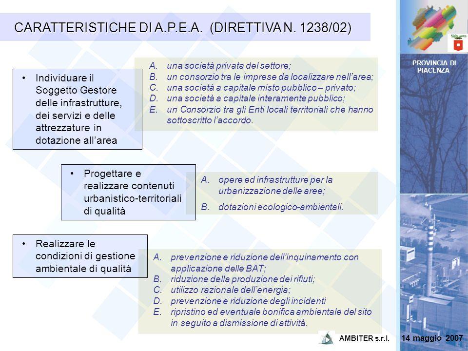 CARATTERISTICHE DI A.P.E.A. (DIRETTIVA N. 1238/02)