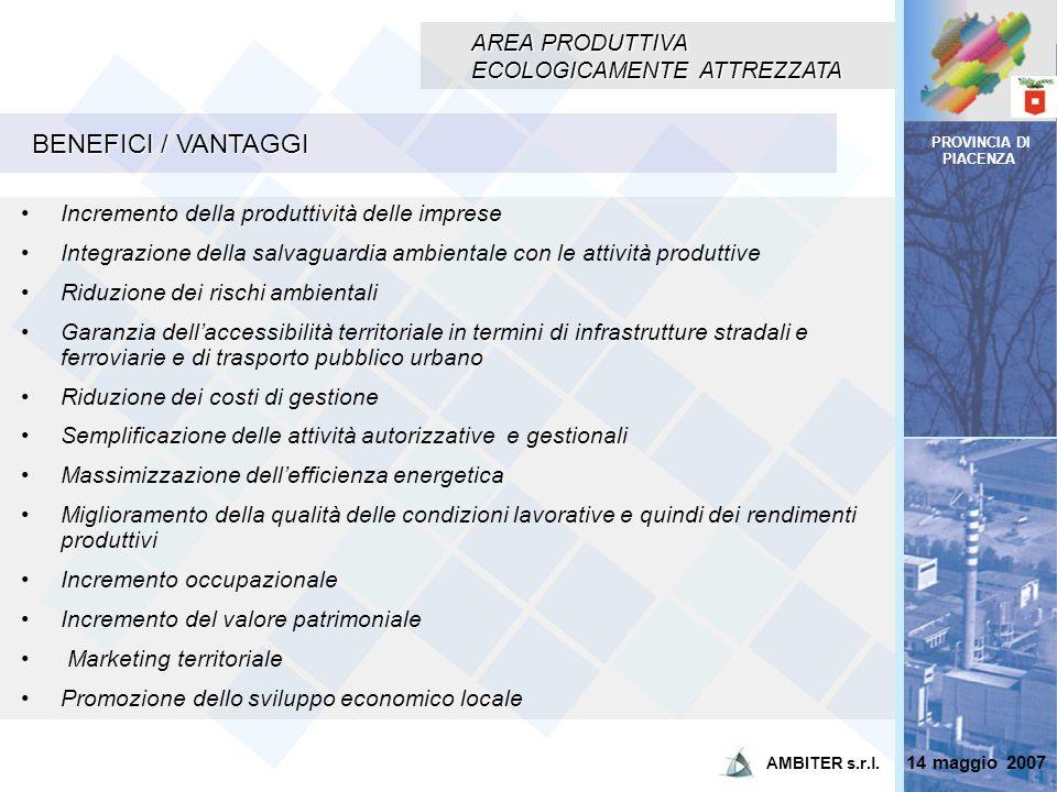 BENEFICI / VANTAGGI AREA PRODUTTIVA ECOLOGICAMENTE ATTREZZATA