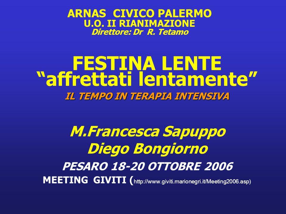ARNAS CIVICO PALERMO U.O. II RIANIMAZIONE Direttore: Dr R. Tetamo