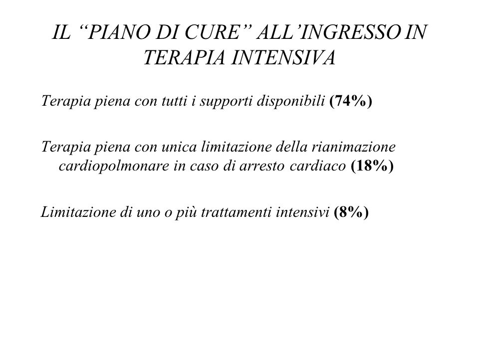 IL PIANO DI CURE ALL'INGRESSO IN TERAPIA INTENSIVA