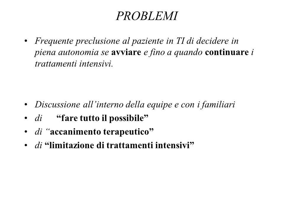 PROBLEMI Frequente preclusione al paziente in TI di decidere in piena autonomia se avviare e fino a quando continuare i trattamenti intensivi.