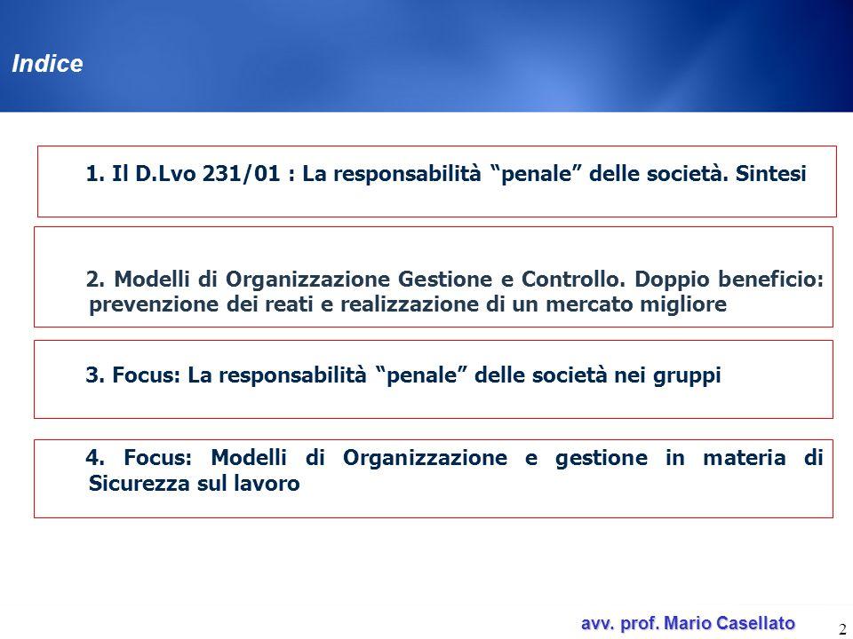 Indice 1. Il D.Lvo 231/01 : La responsabilità penale delle società. Sintesi.