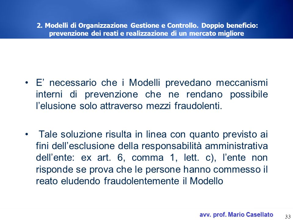 2. Modelli di Organizzazione Gestione e Controllo