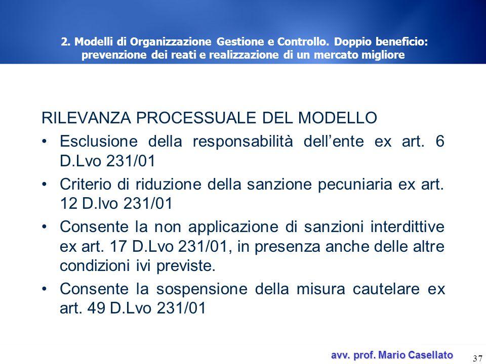 RILEVANZA PROCESSUALE DEL MODELLO