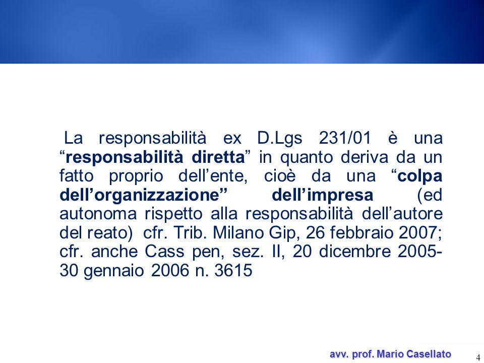 La responsabilità ex D.Lgs 231/01 è una responsabilità diretta in quanto deriva da un fatto proprio dell'ente, cioè da una colpa dell'organizzazione dell'impresa (ed autonoma rispetto alla responsabilità dell'autore del reato) cfr.