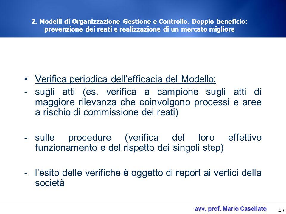 Verifica periodica dell'efficacia del Modello: