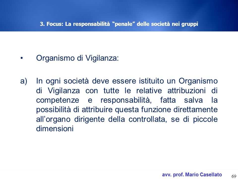 3. Focus: La responsabilità penale delle società nei gruppi
