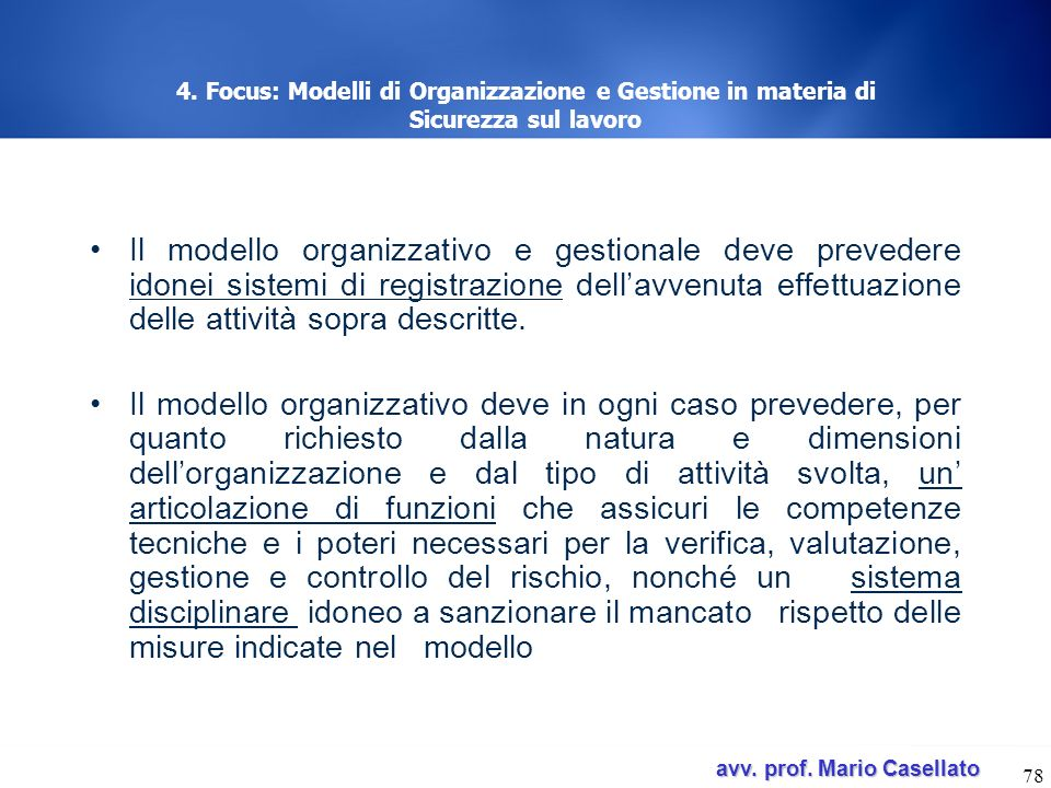 4. Focus: Modelli di Organizzazione e Gestione in materia di Sicurezza sul lavoro