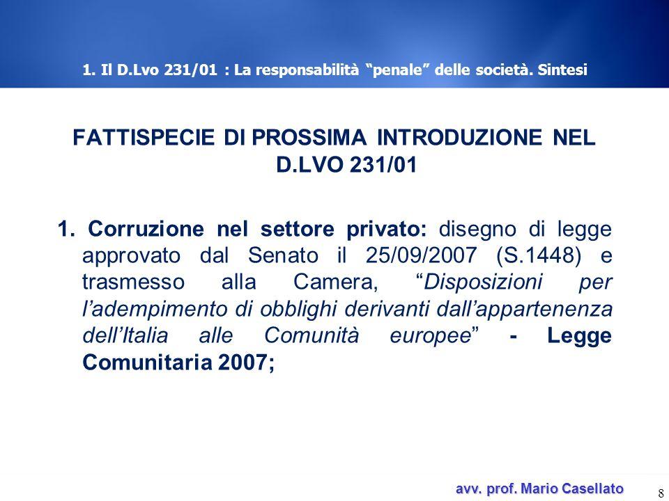 1. Il D.Lvo 231/01 : La responsabilità penale delle società. Sintesi