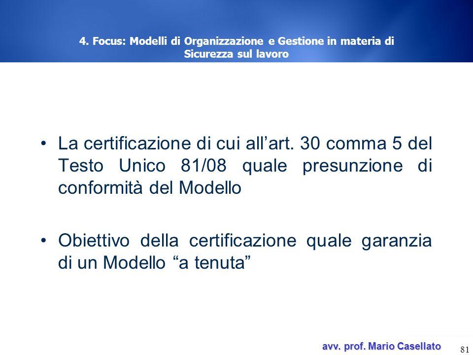 Obiettivo della certificazione quale garanzia di un Modello a tenuta