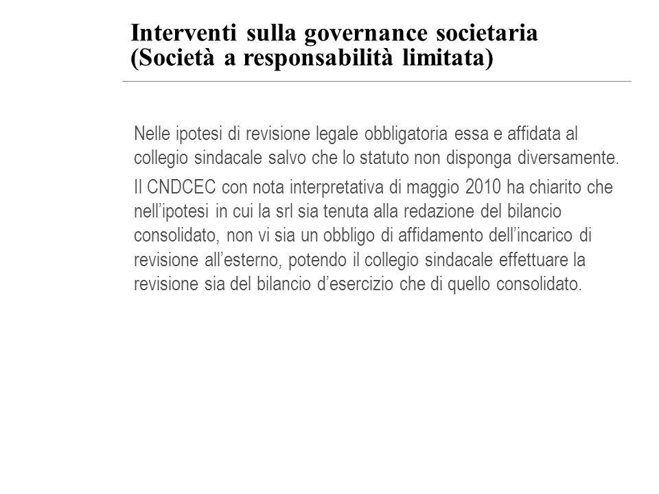 Interventi sulla governance societaria