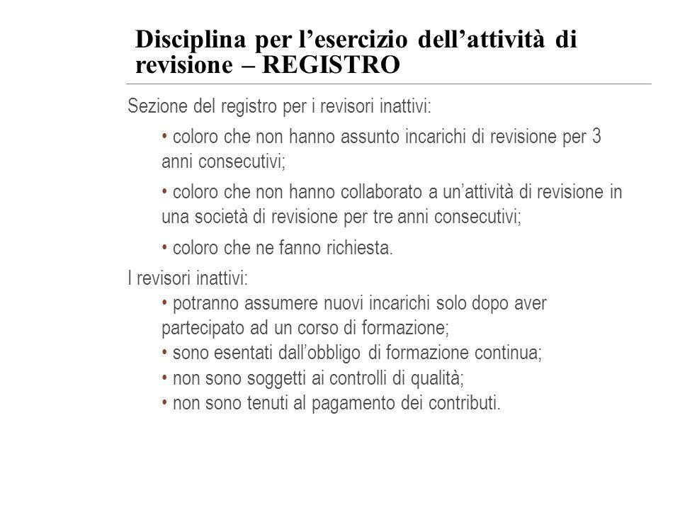 Disciplina per l'esercizio dell'attività di revisione – REGISTRO