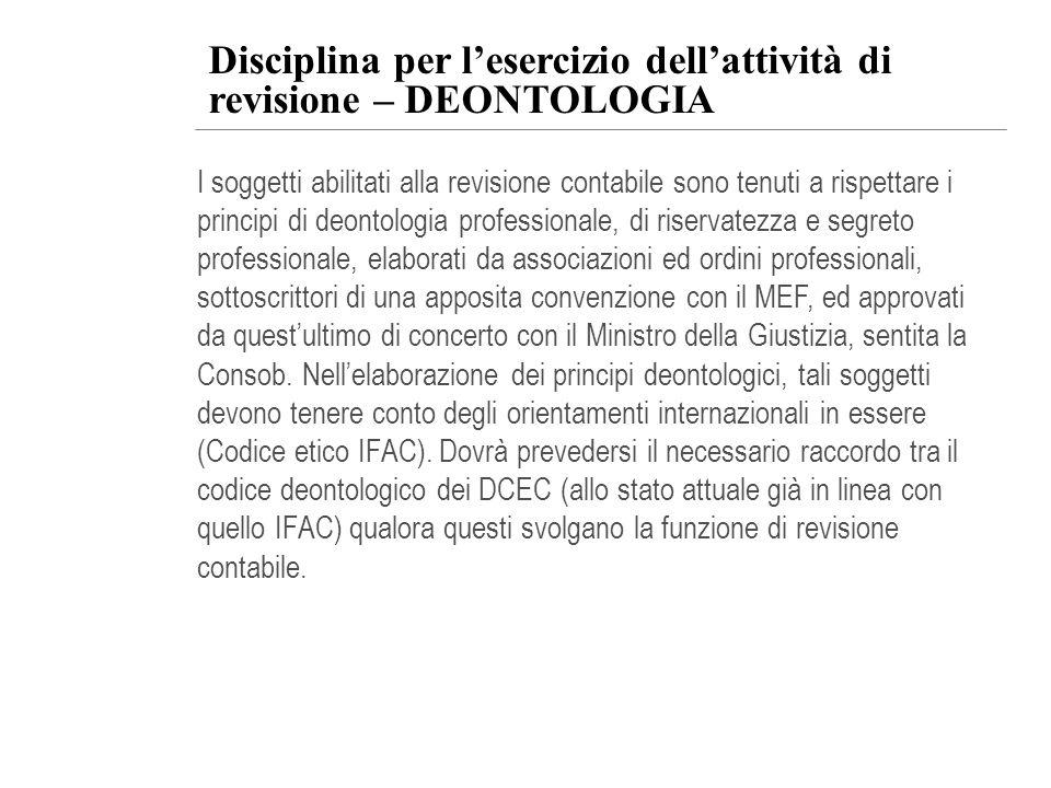 Disciplina per l'esercizio dell'attività di revisione – DEONTOLOGIA