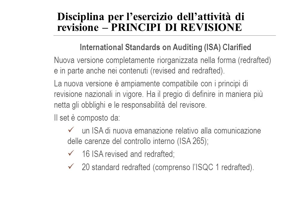 International Standards on Auditing (ISA) Clarified