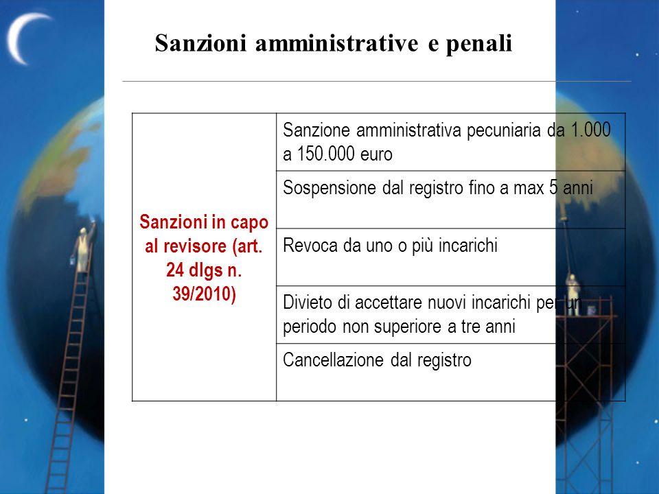 Sanzioni in capo al revisore (art. 24 dlgs n. 39/2010)