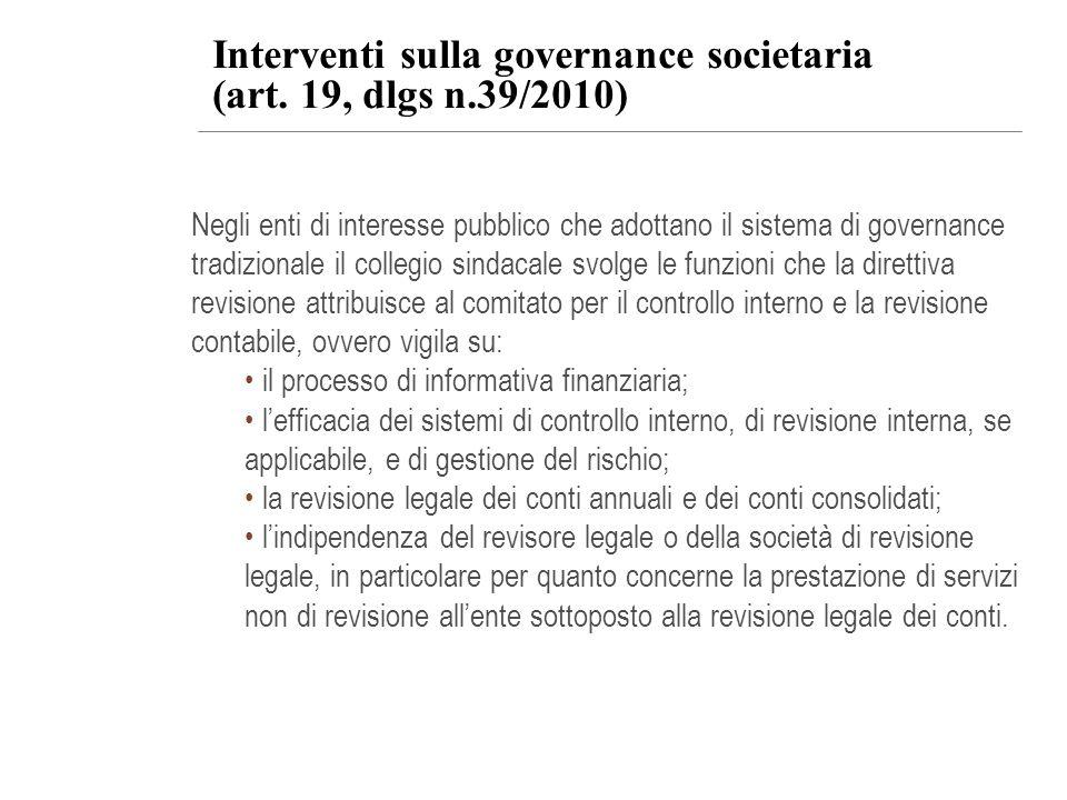 Interventi sulla governance societaria (art. 19, dlgs n.39/2010)