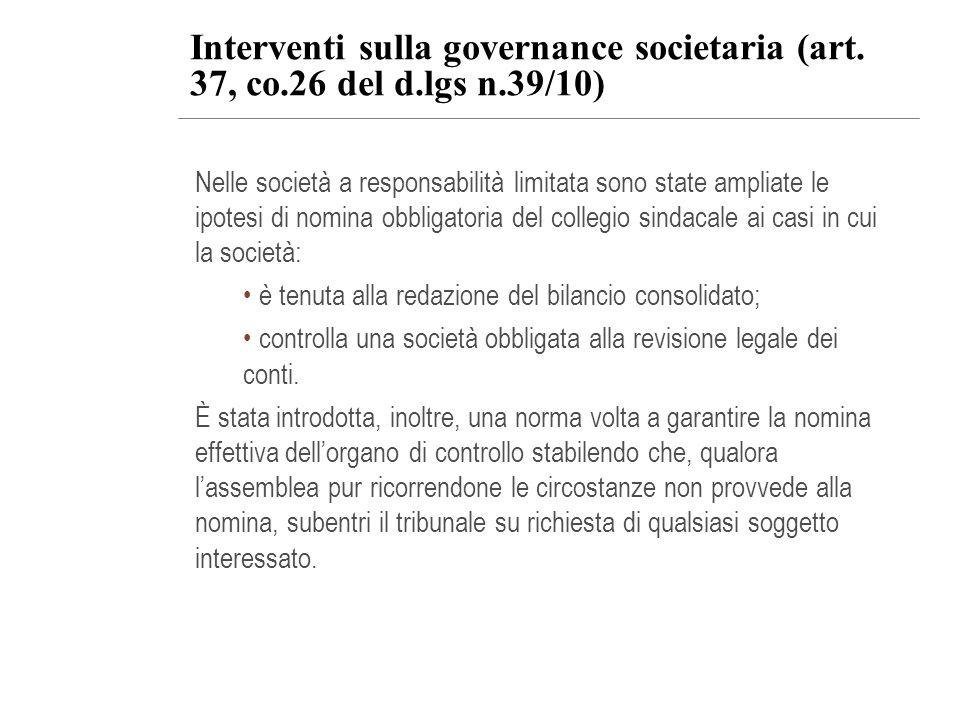 Interventi sulla governance societaria (art. 37, co. 26 del d. lgs n