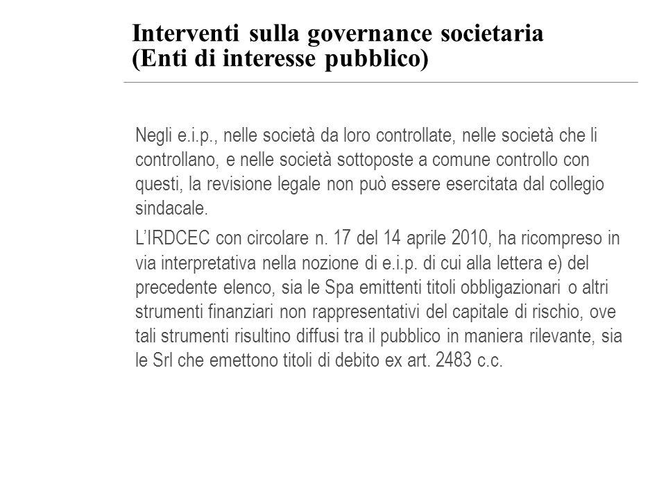 Interventi sulla governance societaria (Enti di interesse pubblico)