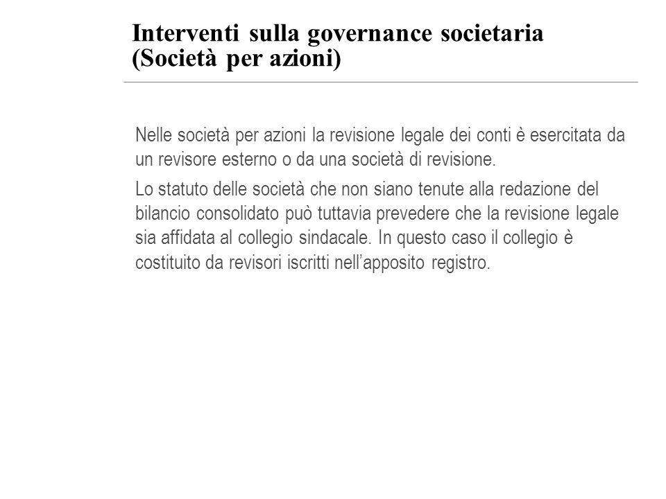 Interventi sulla governance societaria (Società per azioni)