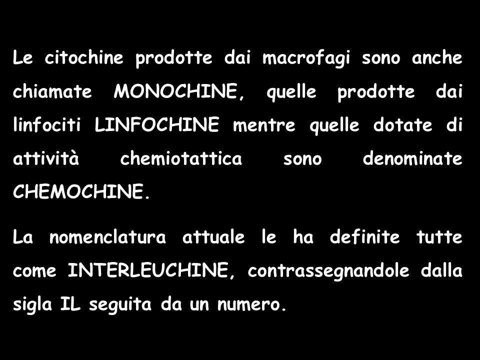 Le citochine prodotte dai macrofagi sono anche chiamate MONOCHINE, quelle prodotte dai linfociti LINFOCHINE mentre quelle dotate di attività chemiotattica sono denominate CHEMOCHINE.