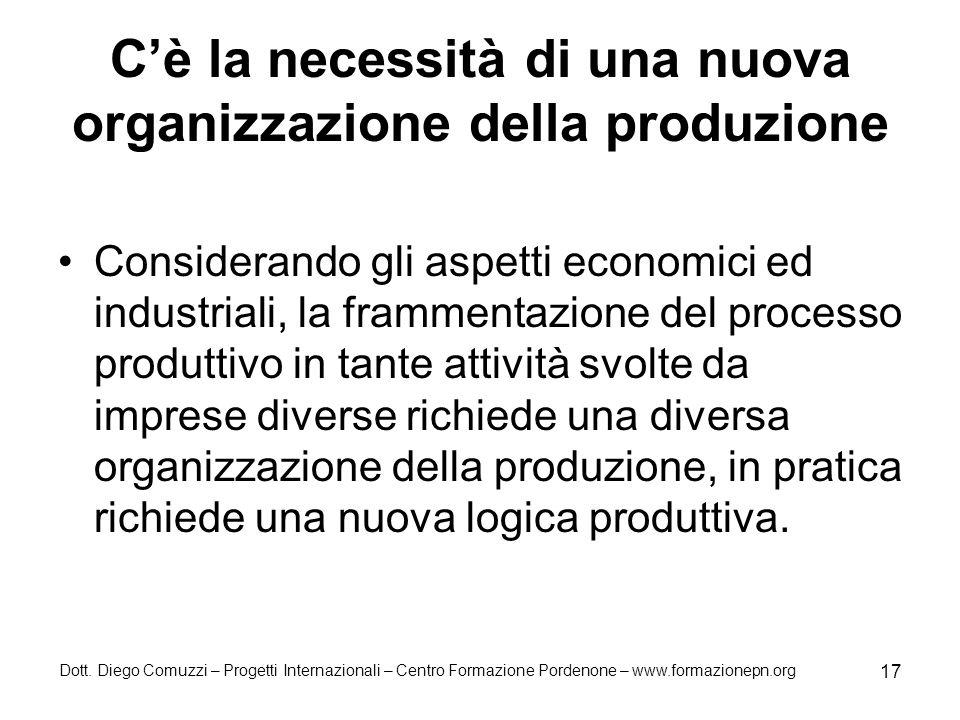 C'è la necessità di una nuova organizzazione della produzione