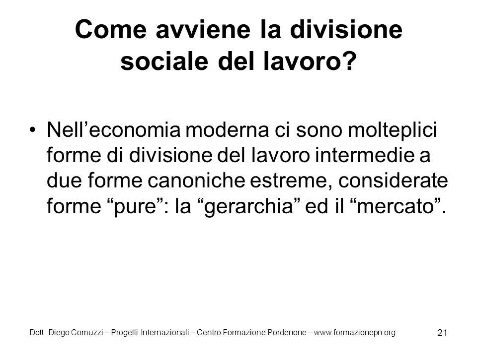 Come avviene la divisione sociale del lavoro