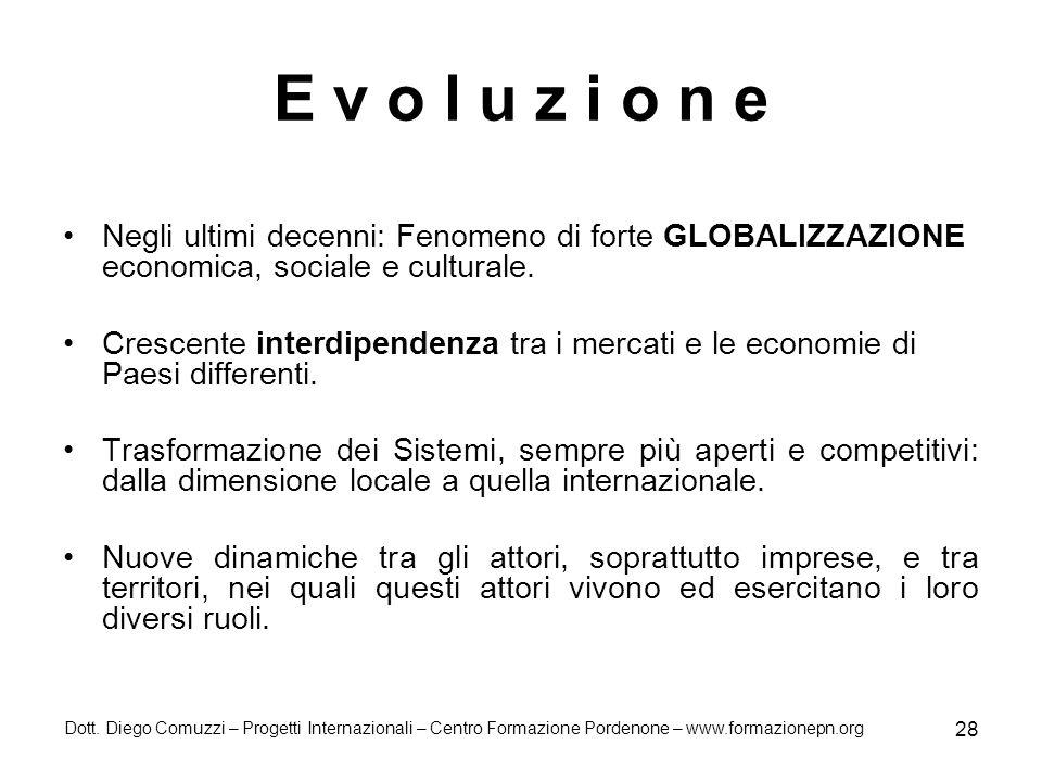 E v o l u z i o n e Negli ultimi decenni: Fenomeno di forte GLOBALIZZAZIONE economica, sociale e culturale.