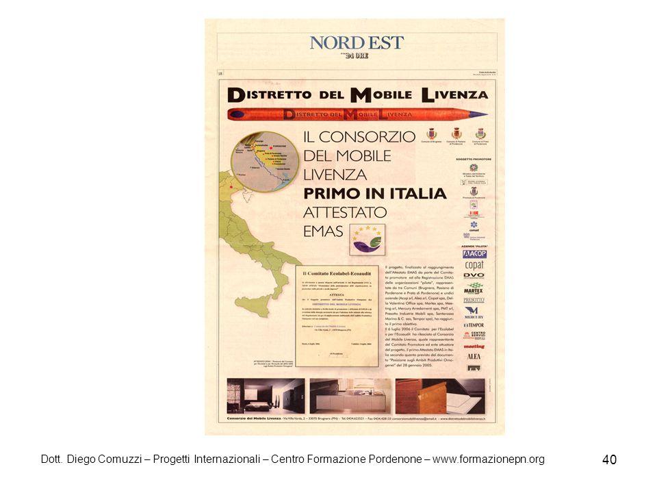Dott. Diego Comuzzi – Progetti Internazionali – Centro Formazione Pordenone – www.formazionepn.org