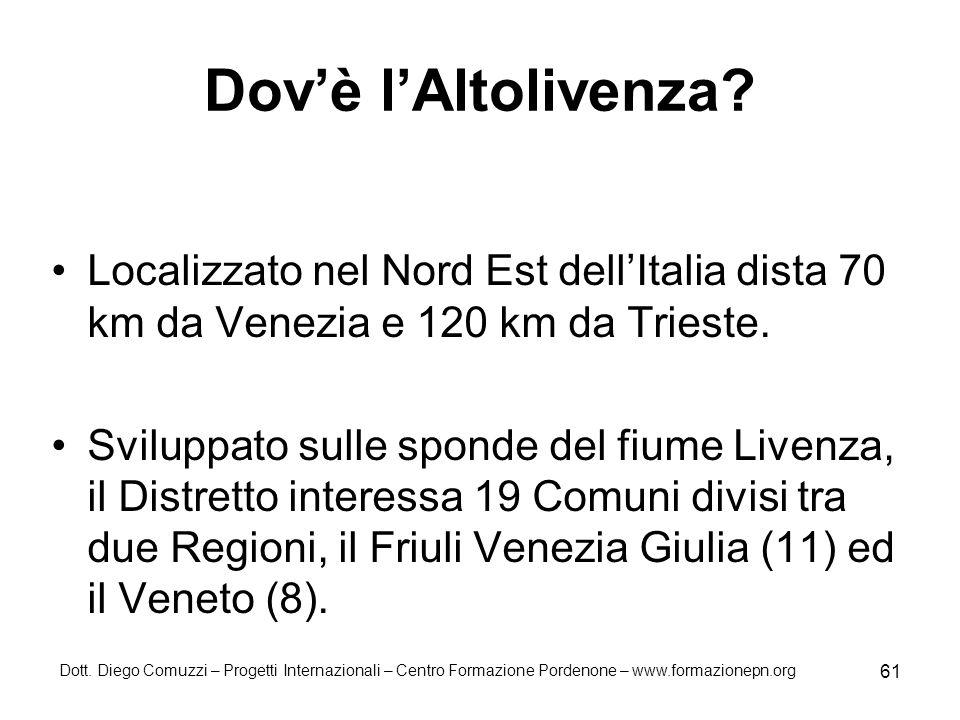 Dov'è l'Altolivenza Localizzato nel Nord Est dell'Italia dista 70 km da Venezia e 120 km da Trieste.