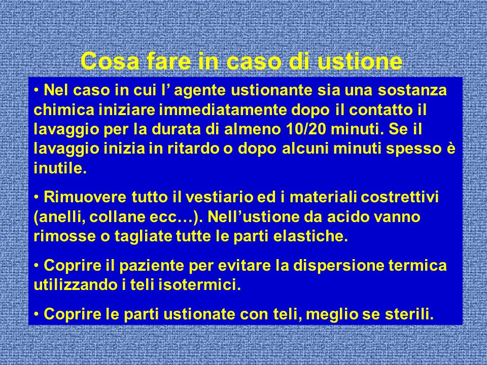 Cosa fare in caso di ustione